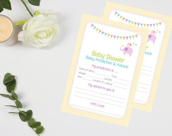 Yellow Neutral Baby Prediction Cards - Baby Shower Game 20 Players - High Quality Card