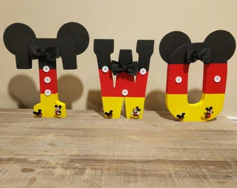 Mickey Mouse second birthday wood letters