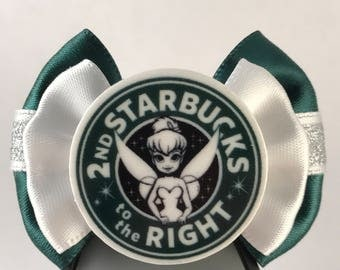 Coffee and Donuts Collection - Tinkerbelle / Peter Pan / 2nd Star to the Right Starbucks inspired Disney World Band Bow / Apple band bow