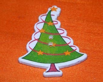 button with Garland Christmas tree