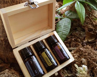 3 Holes Unfinished Wooden Essential Oil Storage Box