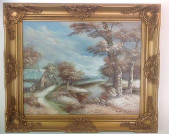Vintage Original Landscape Oil Painting by C. Inness