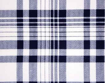 Deep Navy and White Plaid Cotton Spandex Blend Knit