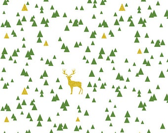 Girl Charlee Bolt Jolly Holiday Sparkle Triangle Stag Cotton Spandex Knit Fabric