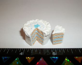 1:12 One Inch Scale Dollhouse Miniature Handcrafted July 4th Patriotic Star Cake ~ Doll Food Dessert