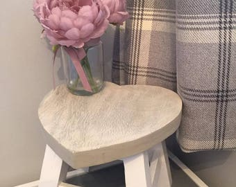 Vintage Grey Top and White Base Heart Stool