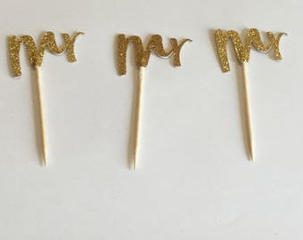 Mr. Wedding gold glitter cupcake toppers, bachelor party mr cupcake toppers, mr engagement party cupcake toppers