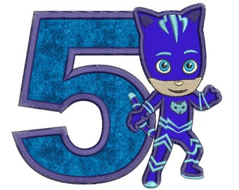 5th Birthday Blue Pj Masks Applique Design Instant Download 3 sizes