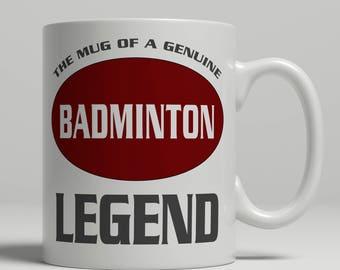 Badminton mug, badminton gift, badminton gift mug, badminton coffee mug, badminton gift idea, badminton legend mug, EB badminton legend