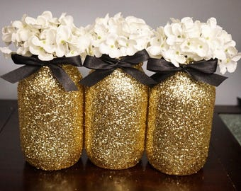 3 Gold Glitter Mason Jar, Black Ribbon, Centerpieces