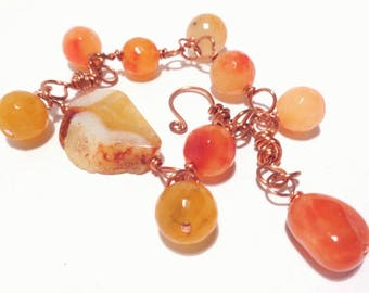 Bracelet made with copper wire technique agate and Carnelian