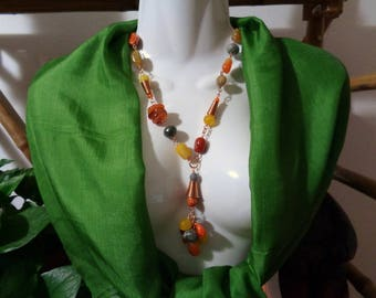 Copper and hard stones technical wire necklace