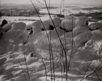 Landscape Photograph, Monochrome, Snow Study, West Yorkshire
