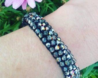 Sparkling light iridescent Glass Bead Bracelet