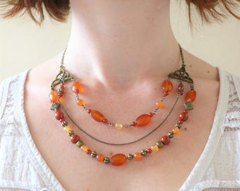 Multirang carnelian, red Jasper and agate necklace