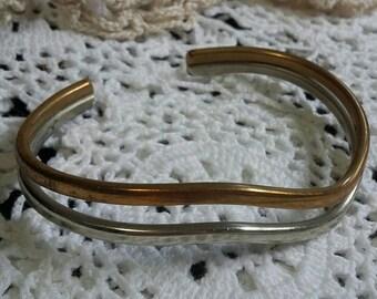 Sergio Lub California brass and silver double wave cuff