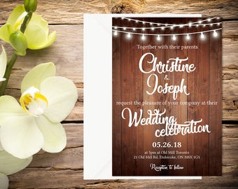 Printed Rustic Wedding Invitation, Rustic Wedding Invitation, Rustic wedding, Country Wedding, Printable Wedding, Printed Wedding invitation