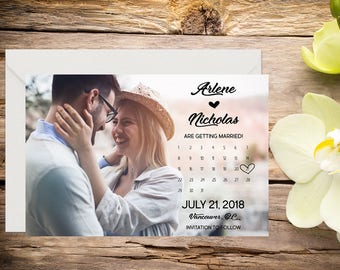 Printed Save the Date, Photo Save the Date, Classic Wedding, Romantic Wedding, Save the Date Template, Save the Date Card, Save-the-date