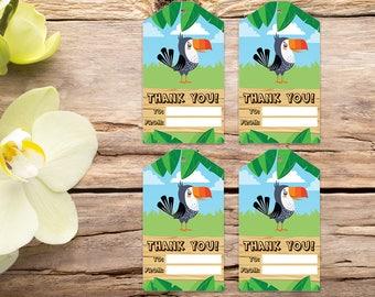 Parrot favor tags, jungle tags, safari thank you tag, jungle favor tags, party tags, thank you tags, party favor tags, printable tags