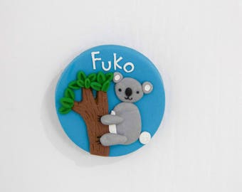 Personalised Koala Name Badge- Handmade Polymer Clay Badge