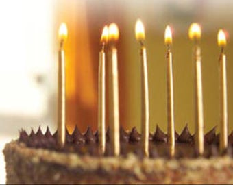 Gold Birthday Candles 12 Pack Gold Candles  Metallic Candles  Birthday Candles Wedding