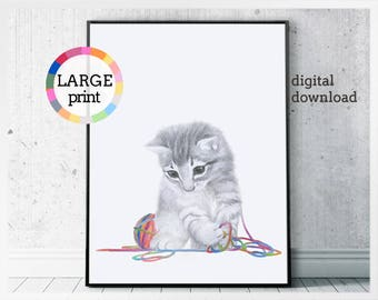 Baby cat wall art, cat printable, kitten art print, nursery poster, original drawing, cat lover gift, kitten playful print, cat artwork
