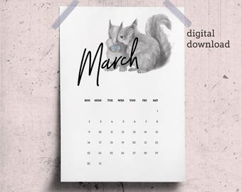 March Calendar Page 2018 Desk Calendar Printable with Squirrels Drawing, March Printable Animal Theme, Dawnload March Wall Calendar