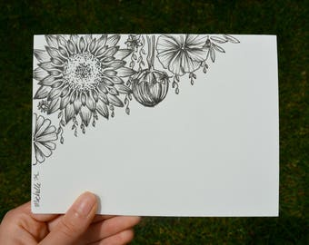 Hand Drawn Card (Handmade), Floral Cards, Wild Flower Cards, Floral Stationery