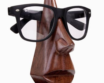 Handmade Wooden Nose Shaped Spectacle Specs Eyeglass Holder stand