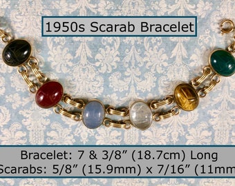 Vintage 1950s Scarab Bracelet with 6 Semi Precious Large Scarabs Gold Toned Metal