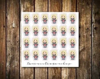 Coffee / Hot Cocoa - Cute Blonde Girl - Functional Character Stickers