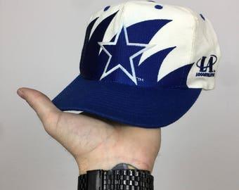 Rare Vintage 90s NFL Dallas Cowboys Logo Athletic Sharktooth shark tooth football  snapback hat 02065eab5c19