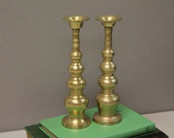 Vintage Brass Candle Holders, Brass Japanese Candle Holders, Hollywood Regency Candle Hodlers