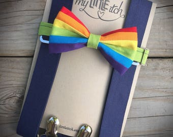 Rainbow Bow Tie, Rainbow Baby Boy, Rainbow Baby Outfit, Baby Bow Tie, Baby Suspenders, Cake Smash Outfit Boy, First Birthday Outfit, Rainbow