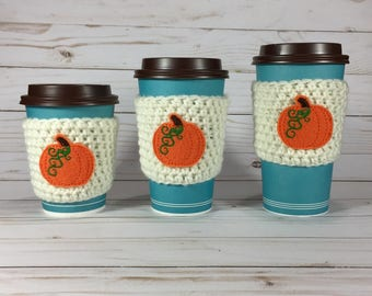Pumpkin Spice Coffee Cozy, crochet coffee cozy, crochet cup cozy, crochet mug cozy, Halloween coffee cozy