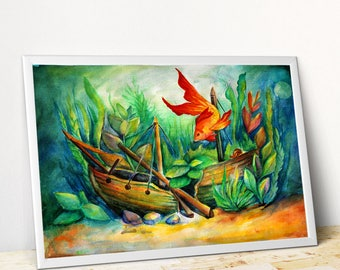 Fish painting Watercolor fish art Aquarium painting Golden fish watercolor Aquarium watercolor Fish print Fish giclee PaintingOnlineStore