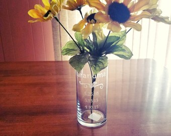 Personalized Vase,  Custom Vases with sayings/birth dates, Personalized Vase for Mom/Grandma, Custom Etched Vase, Custom Gift for Mom