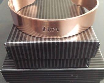 """HODL 16 Gauge COPPER 1/2"""" x 6"""" Hand Stamped Bracelet"""
