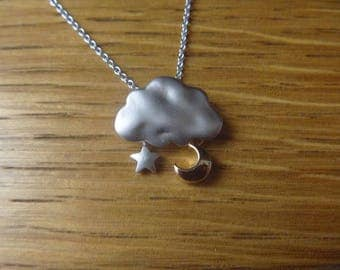 Rain Cloud goldish with little star Necklace