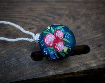 "Handpainted Glass ""Emi"" Regular sized Ornament"