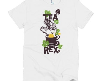 Tea Rex sleeve women's t-shirt - Funny t-shirt - Funny women's t-shirt -Funny t-shirt gift - Birthday gift - Gift for her