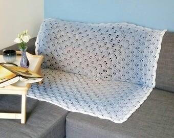 Blue crochet blanket - ombre virus blanket - ombre sofa blanket - blue lap blanket - lightweight throw - blue sofa blanket - grey blanket