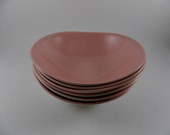 Mid-Century Modern Pink Cloud Cereal Bowls - Johnson Bros Made in England