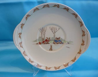 Royal Doulton Rare Bunnykins Bread and Butter Plate with Tug of War Signed Barbara Vernon 1937-40 (S138)