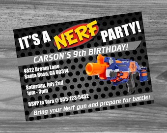 Dart Birthday Party Custom Invitation - High quality invite sure to make your party a success! Super fast turn around time!