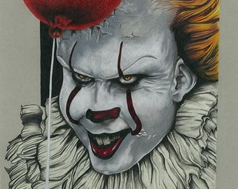 Pennywise IT Bill Skarsgård Drawing Print