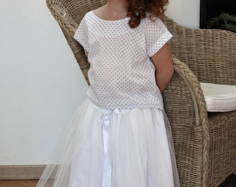 Skirt ceremony girl tulle with satin bow