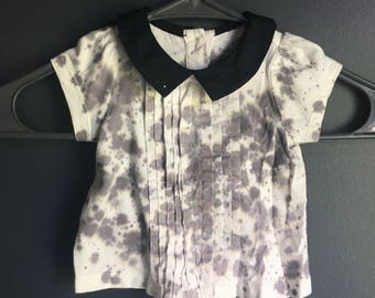 0-3 month little girl short sleeve shirt, splatter dyed