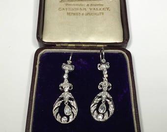 Antique Art Deco 18K White Gold Old European 2.56 CTW Diamond Dangle Earrings