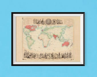 Map of the British Empire | 1864 Vintage Britain Map of Poster | Fine Art Reproduction Print of Antique Map of the World, old England print